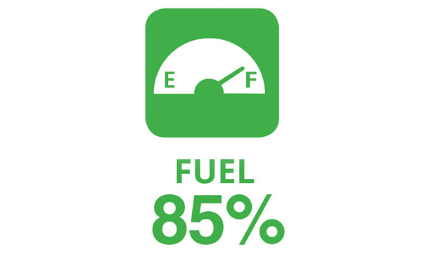 "Illustration showing a fuel gauge with the word ""Fuel"" and the number ""85%"""