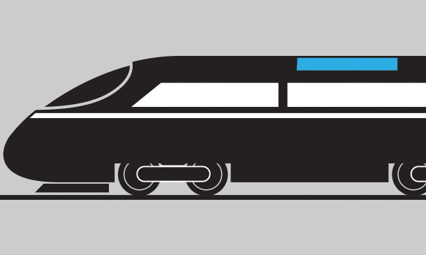 Illustration of passenger rail train with HVAC unit highlighted in blue.