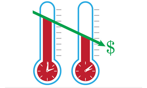 Illustration/graph showing costs going down with thermometers in background.