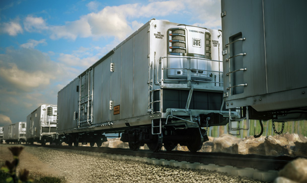 Photo of refrigerated railcar with Precedent unit.