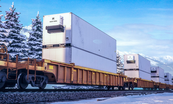 Photo of container on flat car with Heat King unit