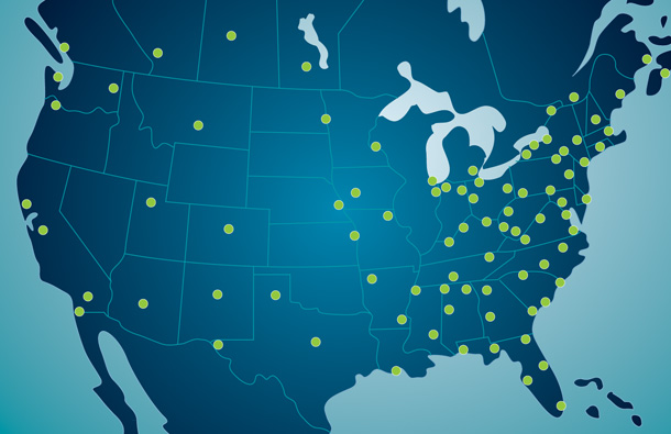 Illustration of North American map showing locations of Thermo King e-rail certified dealers.