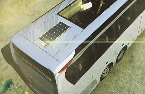 Photo showing a Bus with a solar panel