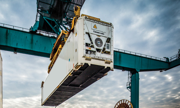 Photo showing Magnum Container being lifted from a ship